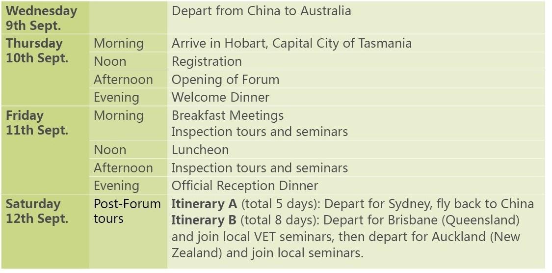 TAFE forum schedule English