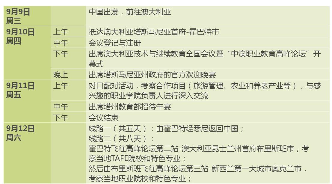 TAFE forum schedule Chinese